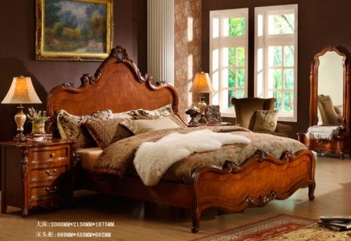 美式乡村实木床价格_图片