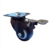 轻型平底双刹金钻轮,PU刹车脚轮