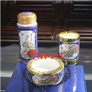 供应卡帝保罗CP-BGTZ-019景泰蓝国色天香保温杯茶叶罐笔筒三
