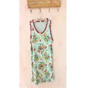 夏装pink睡衣女人纯棉吊带裙可爱公主田园花朵睡裙家