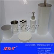供应K&T1厂家不锈钢白色收腰形6件套卫浴套