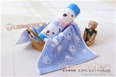 供应隆利竹纤维礼品童巾卡通毛巾双条装