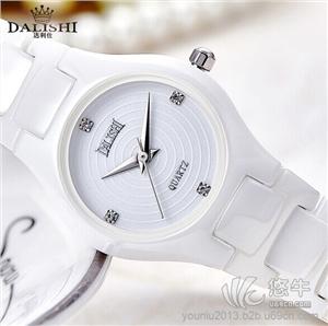 供应瑞士高档情侣镶钻表盘白色陶瓷  时尚防水石英表 女士手表