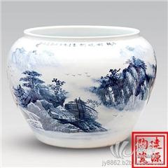 供应青花陶瓷养鱼缸 陶瓷大缸