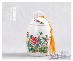 供应景德镇陶瓷手绘茶叶罐