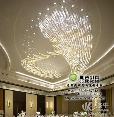 酒店大堂现代玻璃工艺吊灯价格
